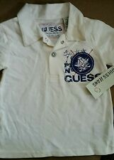 "NWT ""GUESS"" BOYS COLLAR NAUTICAL SHORT SLEEVE WHITE POLO SHIRT SZ 12 MOS."