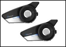 New Sena 20S EVO Bluetooth Motorcycle Intercom Universal Headset - Dual Pack