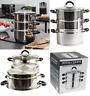 3 Tier Kitchen Steamer Cooker Veg Food Pan Pot Stainless Steel Glass Lid Set New