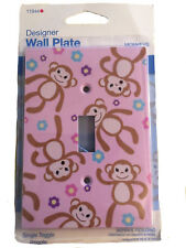 Designer Pink Monkey Floral Wall Plate Single Light Switch Cover Kids Room