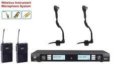 UHF Dual Wireless Instrument Microphone for Horn Saxophones Trumpet Tuba Drum