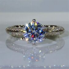 2.28 TCW Round Cut DVVS1 Moissanite Engagement Ring In 14k White Gold Plated