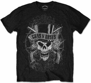 Official Guns N Roses T Shirt Faded Skull Black Classic Rock Band Mens Tee Slash