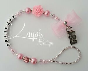 *Bling Romany Pink Shamballa Pearl & Crystal *Rose*Flower Dummy Clip *Any Name*