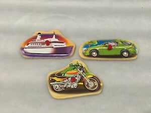 LOT OF 3 REPLACEMENT WOODEN PUZZLE PIECES / CAR - BOAT - MOTORCYCLE