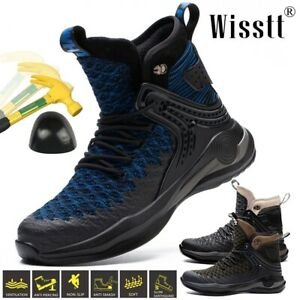 Mens Steel Toe Caps Work Boots Safety Shoes High Top Water Midsole Trainers Size
