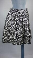 Whistles A Line Monochrome Abstract Print Box Pleated Knee Length  Skirt UK 12
