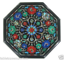 "14"" Black Marble Coffee Table Top Malachite Lapis Lazuli Marquetry Inlay Decor"