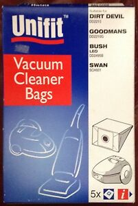 5 X VACUUM CLEANER BAGS DIRT DEVIL/GOODMANS/BUSH/SWAN UNIFIT 230