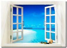 """TROPICAL BEACH WINDOW VIEW A3 CANVAS PRINT poster 18""""X 12"""""""