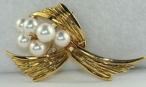 VINTAGE 18K GOLD 750 MIKIMOTO PEARL DIAMOND PIN BROOCH
