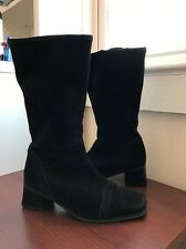 La Canadienne Black Suede Zip Up Riding Boots Used Women's 8 RARE!