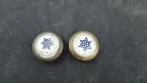 2 ANTIQUE PICTURE NAILS VICTORIAN ARTWORK HANGER- Blue ENAMEL-EMBOSSED Star 7/8""