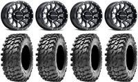 "Raceline Trophy 14"" Wheels Black +38mm 32"" Rampage Tires Polaris Ranger XP 9/1K"