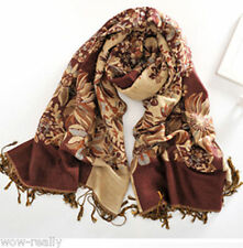 Pretty Double Side Reversible Elegant Women's Pashmina Floral Brown Scarf shawl