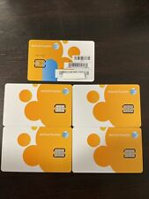Set of 5 New Genuine At&T Nano Sim Card supports 4G Lte & 5G Prepaid or Contract