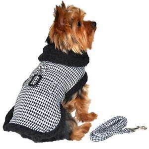 Doggie Design Black & White Classic Houndstooth Dog Harness Coat & Leash  XS-2XL