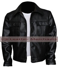 Elvis Presley The King of Rock Synthetic leather Jacket Black Color Slim-fit