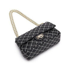 UScarmen Women's Cross-stitch Quilted Sheepskin Chain Shoulder Bag 1556 BLACK