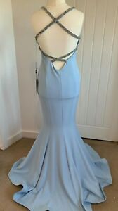 PIA MICHI BABY BLUE BACKLESS FITTED GOWN BNWT SIZE 12-14