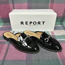 Report Quade Womens Black Patent Shoes Size 7.5 M NEW OPEN BOX Slip On Loafer