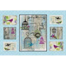 Songbird tissu panneau 100% coton par spx gris bleu cage oiseaux hirondelles
