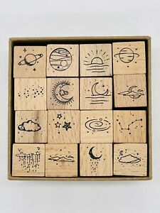 16 Piece Wooden Rubber Stamp Set Moon and Sixpence New sun rain cloud stars