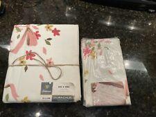 FIELDCREST Duracale  full flat sheet 2 pillow cases PINK FLORAL VINTAGE NOS