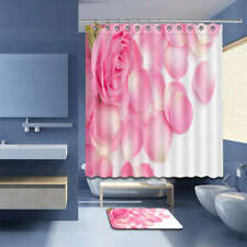 Pink Round Waterproof Bathroom Polyester Shower Curtain Liner Water Resistant