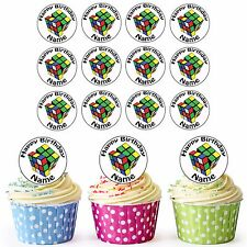 Rubix Cube 24 Personalised Pre-Cut Edible Birthday Cupcake Toppers Decorations