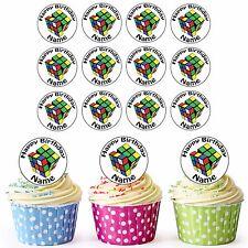 Rubix Cube 24 Personnalisé Pré-Découpé Comestible Anniversaire Cupcake Toppers Décorations