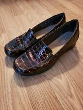 Clarks Brown Alligator/Snakeskin Stype Flat Loafers Womens Size 8m