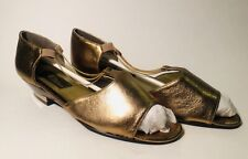 SESTO MEUCCI GOLD TONE LEATHER  WOMENS SHOE SIZE 6M NEW VINTAGE