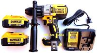New DeWalt DCD996 20V Brushless Hammer Drill, (2) DCB204 4.0 Batteries, Charger