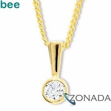 New Natural Diamond 9ct 9k Solid Yellow Gold Solitaire Pendant 60560/B15