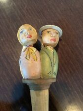 Anri Italy Man & Woman Hand Carved Bottle Stopper Kiss Face With Sticker