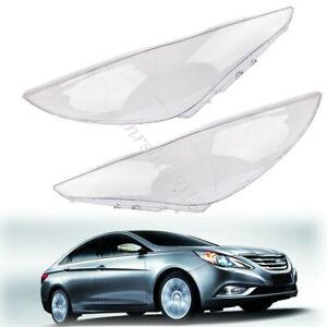 1 Pair L&R Headlight Transparent Lens Lampshade For Hyundai Sonata 8th 2011-2014