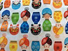 "Kaufman Little Senoritas Nesting Cabana Doll Matryoshka Cotton Fabric, 45""w, BTY"