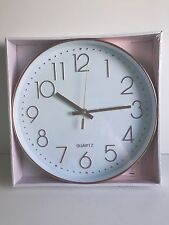 * NEW MODERN ROUND COPPER EFFECT QUARTZ wall clock rose gold clock kitchen home.