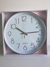 * NEW MODERN ROUND COPPER EFFECT QUARTZ wall clock rose gold clock kitchen home.