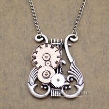 Victorien celtique harpe lyre montre horloge main gear cog steampunk chaîne collier