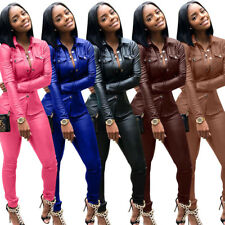 Women PU Leather Casual Tracksuit Long Sleeve Cardigan Jacket + Pencil Pants Set