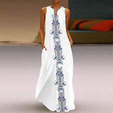 Women Summer Casual Long Maxi Dress Loose Beach Party Sleeveless Sun Dresses