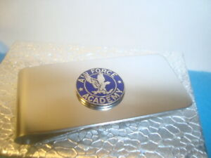 """AIR FORCE ACADEMY Money Clip """" Falcon """" Stainless Steel Silver tone Spring"""