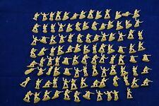 "Vintage 100 PCS Mini Plastic Army Men 1"" Figures Military Set Toy Soldier Yellow"