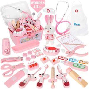 Arztkoffer Spielzeug Holz Spielset Arztköfferchen 43tlg. Rollenspiel rosa B-WARE