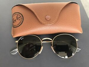 Ray-Ban Round Metal RB3447 Gold with Brown Case G15 Lens Brand New Without Tags