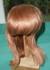 "Peluca de muñeca/12.5"" a 13.5"" de pelo humano cabello largo de color rojo claro, flecos mano kn."