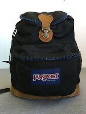 JANSPORT Backpack Vtg 90s Suede Leather Bottom Cinch Top Black USA made EUC