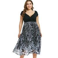 Plus Size Chiffon Floral Women Dress Splicing Short Sleeve Midi Dresses Black
